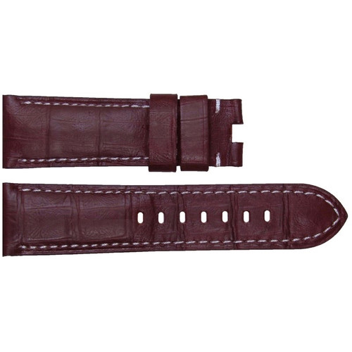 22mm Burgundy Embossed Leather Gator Watch Strap with White Stitching for Panerai Deploy | OEMwatchbands.com