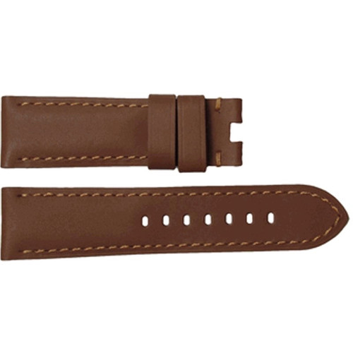 22mm Tan Soft Calf Leather Watch Strap with Match Stitching for Panerai Deploy | OEMwatchbands.com