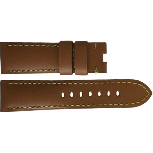 22mm Tan Soft Calf Leather Watch Strap with Green Stitching for Panerai Deploy | OEMwatchbands.com