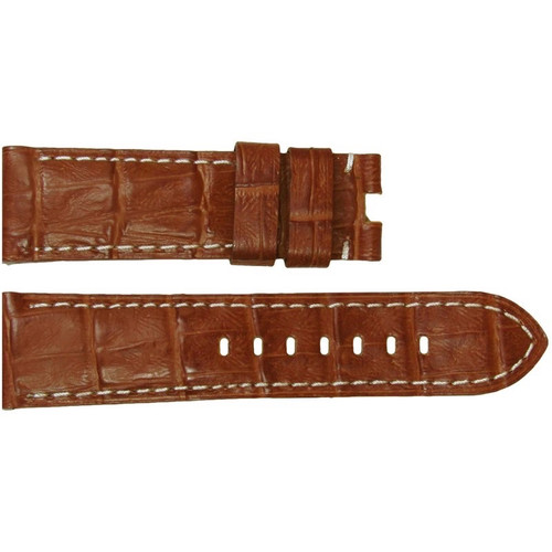 24mm (XL) Honey-Red Embossed Leather Gator Watch Strap with White Stitching for Panerai Deploy | OEMwatchbands.com