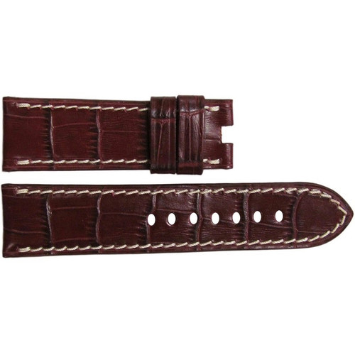 "24mm Burgundy Embossed Leather ""Gator"" Watch Strap with White Stitching for Panerai Deploy 
