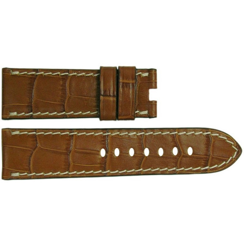 "24mm Cognac Embossed Leather ""Gator"" Watch Strap with White Stitching for Panerai Deploy 