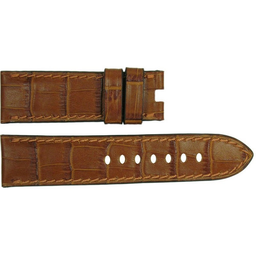 """24mm Cognac Embossed Leather """"Gator"""" Watch Strap with Match Stitching for Panerai Deploy 
