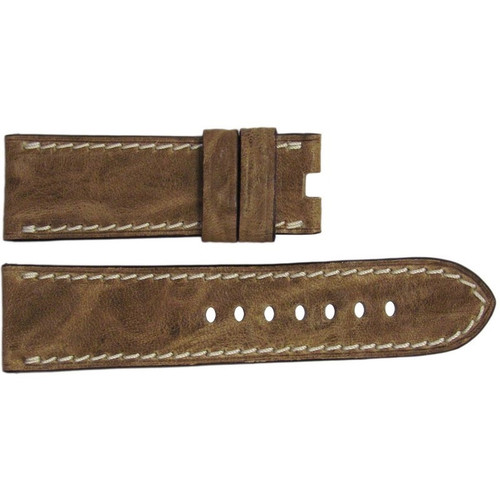 22mm Natural Distressed Vintage Leather Watch Strap with White Stitching for Panerai Deploy | OEMwatchbands.com