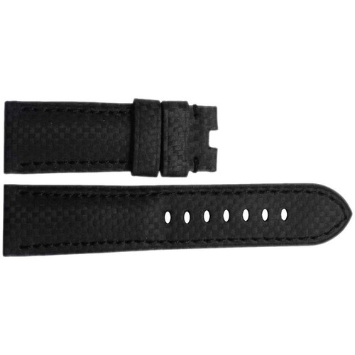 24mm (XL) Black Carbon Fiber Style Watch Strap with Match Stitching for Panerai Deploy | OEMwatchbands.com