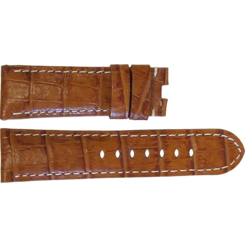 "22mm (XL) Honey Semi-Gloss Embossed Leather ""Gator"" Watch Strap with White Stitching for Panerai Deploy 