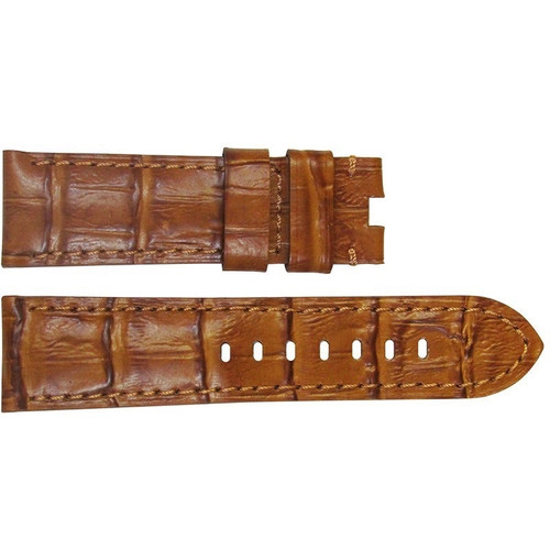 """22mm (XL) Honey Semi-Gloss Embossed Leather """"Gator"""" Watch Strap with Match Stitching for Panerai Deploy 