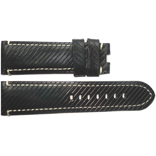 """24mm (XL) Black """"Vivola"""" Leather Watch Strap with White Stitching for Panerai Deploy 