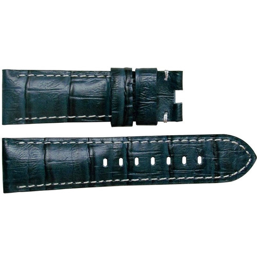 "24mm (XL) Navy Semi-Gloss Embossed Leather ""Gator"" Watch Strap with White Stitching for Panerai Deploy 