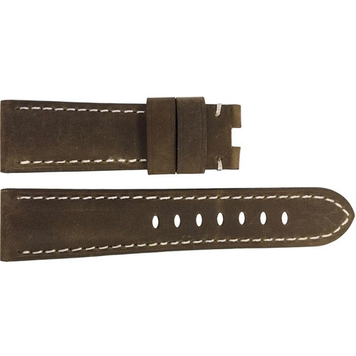 22mm Brown Loco Horse Suede Leather Watch Strap with White Stitching for Panerai Deploy | OEMwatchbands.com