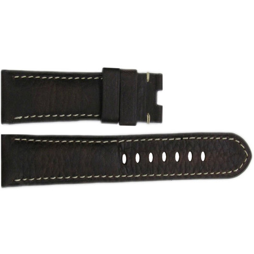 22mm (XL) Dark Brown Deep Oil Vintage Leather Watch Strap with White Stitching for Panerai Deploy | OEMwatchbands.com