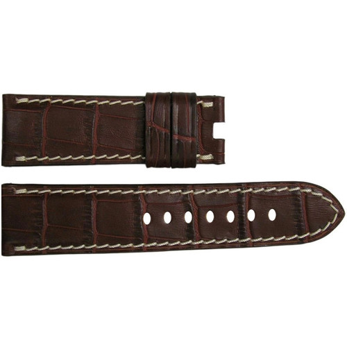 "24mm Mahogany Embossed Leather ""Gator"" Watch Strap with White Stitching for Panerai Deploy 