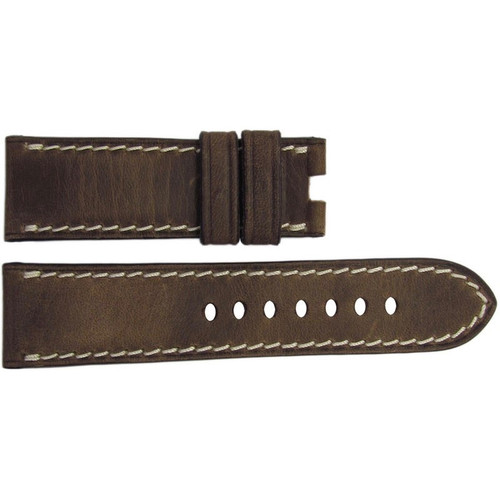 22mm Distressed Medium Brown Vintage Leather Watch Strap with White Stitching for Panerai Deploy | OEMwatchbands.com