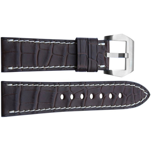 26mm (XL) Dark Brown Matte Alligator Watch Strap with White Stitching for Panerai | OEMwatchbands.com