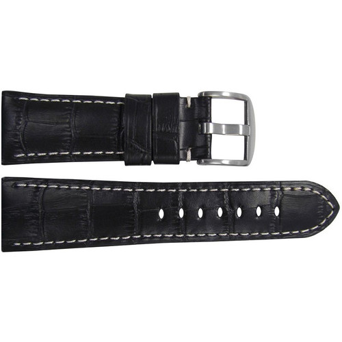 "26mm (XL) Black Embossed Leather ""Gator"" Watch Strap with White Stitching for Panerai Radiomir 