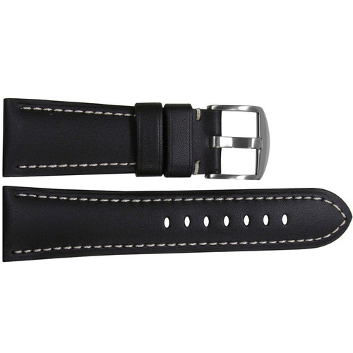 26mm Black Soft Calf Leather Watch Strap with White Stitching for Panerai Radiomir | OEMwatchbands.com