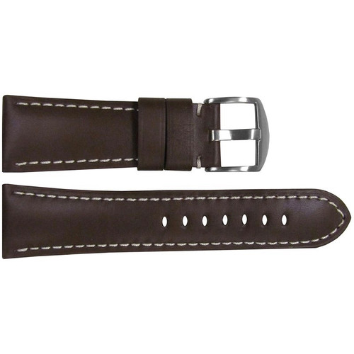 26mm Brown Soft Calf Leather Watch Strap with White Stitching for Panerai Radiomir | OEMwatchbands.com