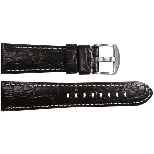 "26mm Choco Semi-Gloss Embossed Leather ""Gator"" Watch Strap with White Stitching for Panerai Radiomir 