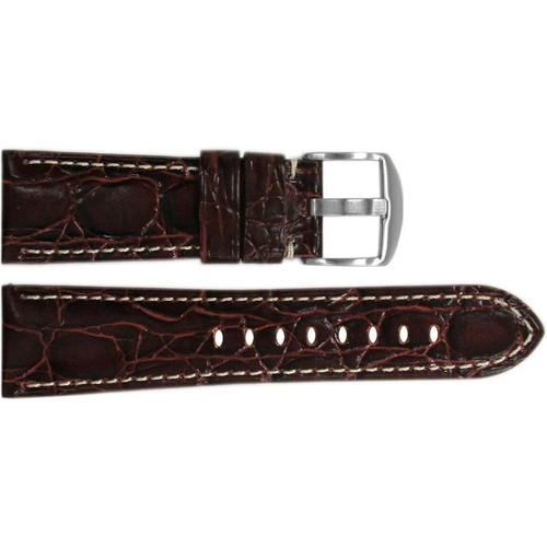 "26mm Burgundy Semi-Gloss Embossed Leather ""Gator"" Watch Strap with White Stitching for Panerai Radiomir 