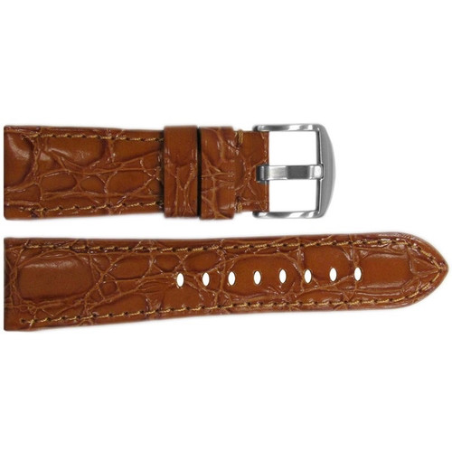 "26mm Honey Glossy Embossed Leather ""Gator"" Watch Strap with Match Stitching for Panerai Radiomir 