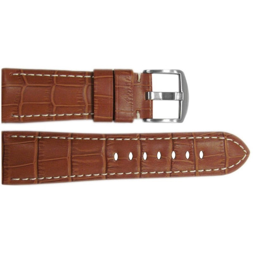 "26mm Honey Embossed Leather ""Gator"" Watch Strap with White Stitching for Panerai Radiomir 