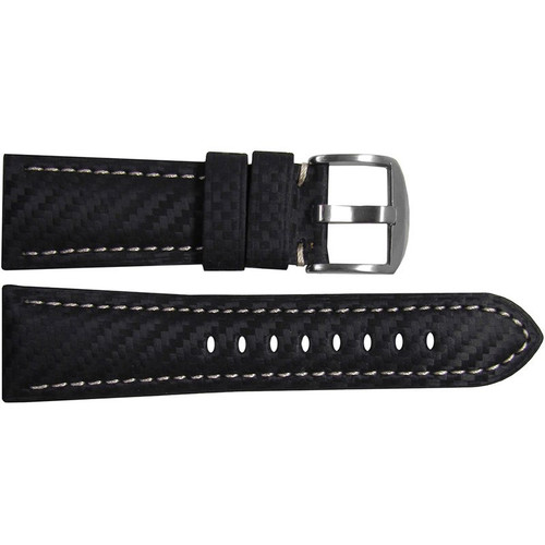 26mm (XL) Black Carbon Fiber Style Watch Strap with White Stitching for Panerai Radiomir | OEMwatchbands.com
