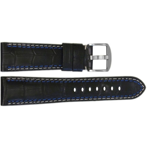 "26mm (XL) Black Embossed Leather ""Gator"" Watch Strap with White + Blue Stitching for Panerai Radiomir 