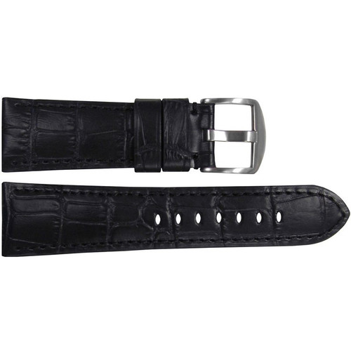 "26mm (XL) Black Embossed Leather ""Gator"" Watch Strap with Match Stitching for Panerai Radiomir 