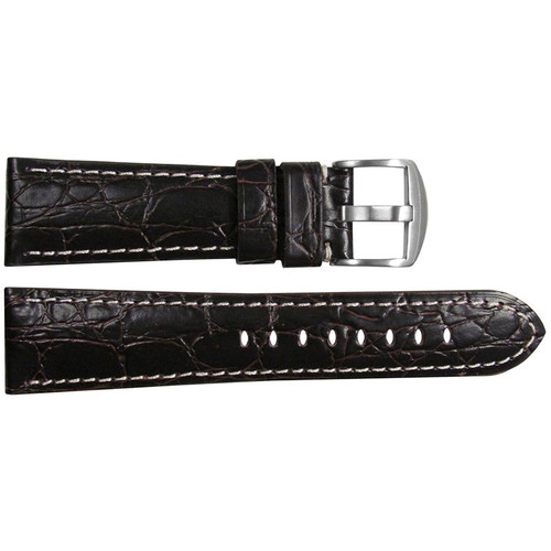 "26mm (XL) Choco Embossed Leather ""Gator"" Watch Strap with White Stitching for Panerai Radiomir 