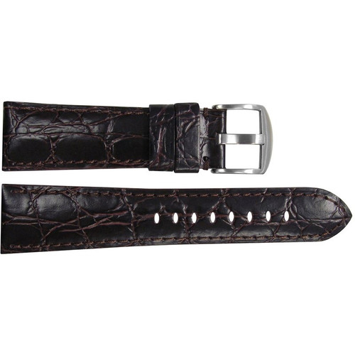 "26mm (XL) Dark Brown Semi-Gloss Embossed Leather ""Gator"" Watch Strap with Match Stitching for Panerai Radiomir 