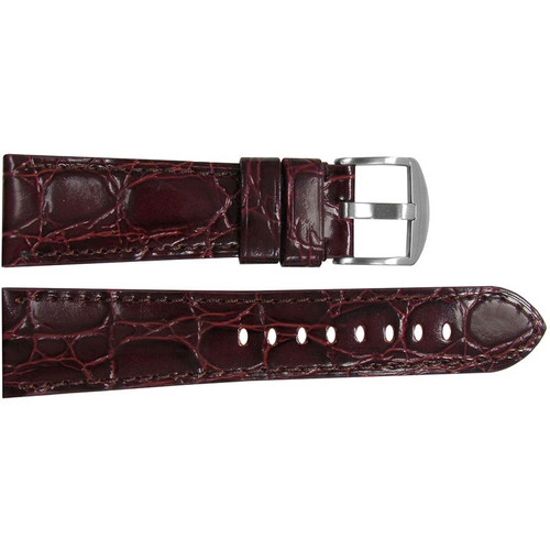 "26mm (XL) Dark Burgundy Semi-Gloss Embossed Leather ""Gator"" Watch Strap with Match Stitching for Panerai Radiomir 