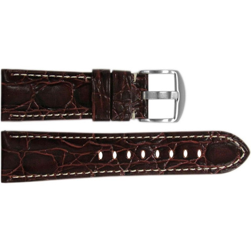 "26mm (XL) Dark Burgundy Semi-Gloss Embossed Leather ""Gator"" Watch Strap with White Stitching for Panerai Radiomir 