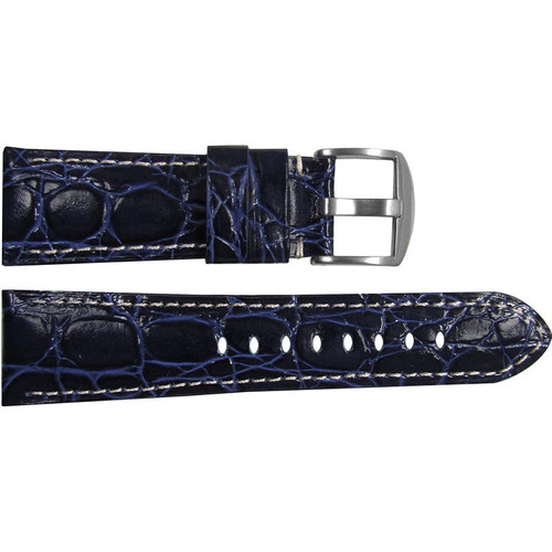 "26mm (XL) Dark Blue Glossy Embossed Leather ""Gator"" Watch Strap with White Stitching for Panerai Radiomir 