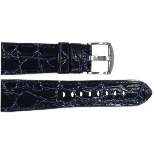 "26mm (XL) Dark Blue Glossy Embossed Leather ""Gator"" Watch Strap with Match Stitching for Panerai Radiomir 