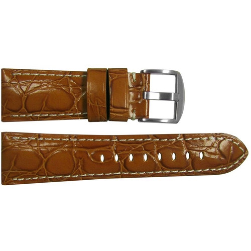"26mm (XL) Honey Glossy Embossed Leather ""Gator"" Watch Strap with White Stitching for Panerai Radiomir 
