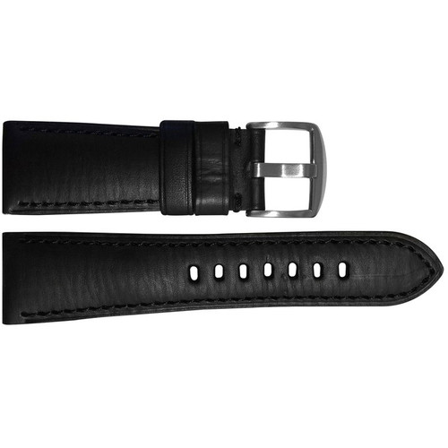 26mm Black HZ Vintage Leather Watch Strap with Match Stitching for Panerai Radiomir | OEMwatchbands.com