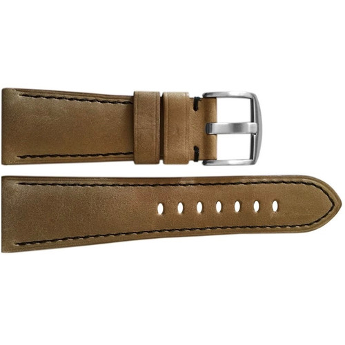 26mm Sand Vintage Leather Watch Strap with Black Stitching for Panerai Radiomir | OEMwatchbands.com