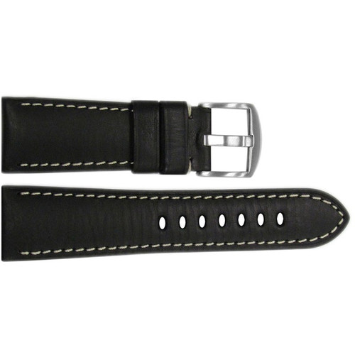 26mm Black HZ Vintage Leather Watch Strap with White Stitching for Panerai Radiomir  | OEMwatchbands.com