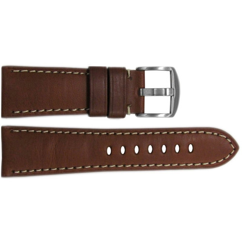 26mm Brown HZ Vintage Leather Watch Strap with White Stitching for Panerai Radiomir | OEMwatchbands.com