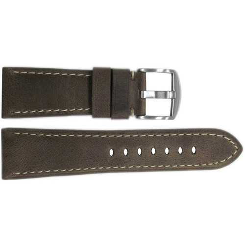 26mm Brown Distressed Vintage Leather Watch Strap with White Stitching for Panerai Radiomir | OEMwatchbands.com