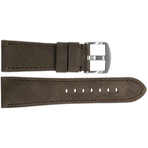 26mm Brown Distressed Vintage Leather Watch Strap with Match Stitching for Panerai Radiomir | OEMwatchbands.com