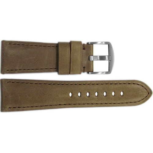 26mm Sand Vintage Leather Watch Strap with Match Stitching for Panerai Radiomir | OEMwatchbands.com