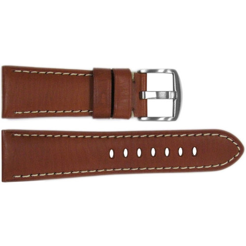 26mm Rou HZ Vintage Leather Watch Strap with White Stitching for Panerai Radiomir | OEMwatchbands.com