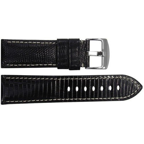 26mm (XL) Black Lizard Watch Strap with White Stitching for Panerai Radiomir | OEMwatchbands.com