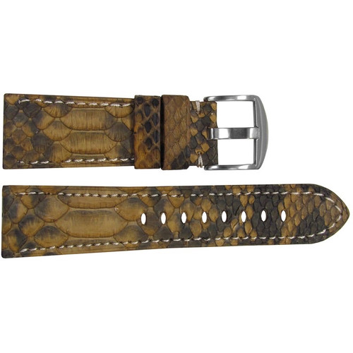 26mm (XL) Gold Java Rock Python Watch Strap with Match Stitching for Panerai Radiomir | OEMwatchbands.com