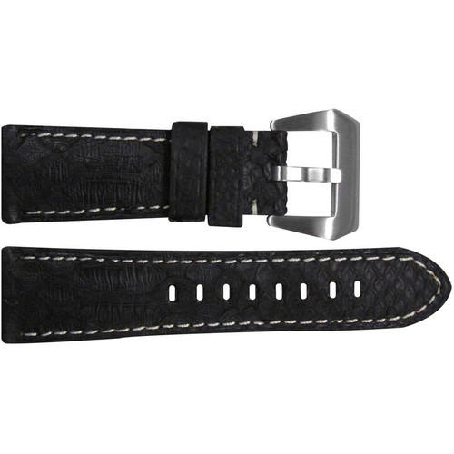 26mm Black Python Watch Strap with White Stitching for Panerai Radiomir | OEMwatchbands.com