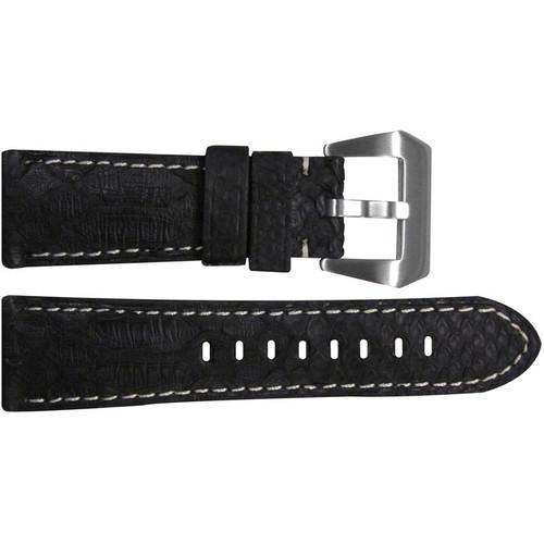 26mm (XL) Black Python Watch Strap with White Stitching for Panerai Radiomir | OEMwatchbands.com