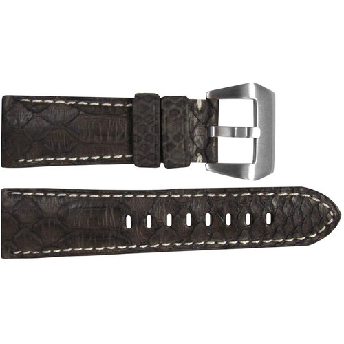 26mm (XL) Brown Python Watch Strap with White Stitching for Panerai Radiomir | OEMwatchbands.com