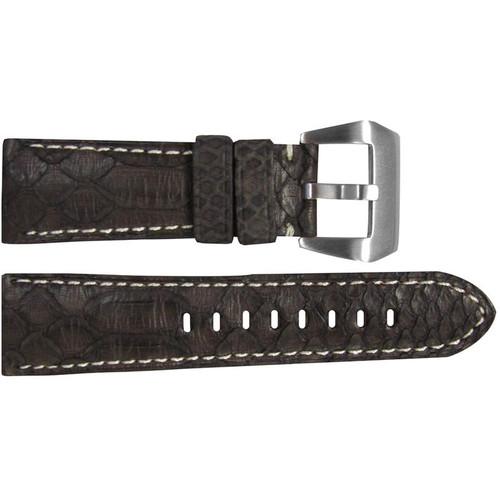 26mm (XL) Brown Python Watch Strap with White Stitching for Panerai Radiomir | OEMwatchbands.com