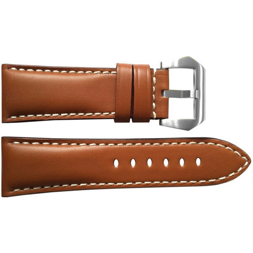 26mm Smooth Medium Brown Vintage Leather Watch Strap with White Stitching for Panerai Radiomir | OEMwatchbands.com